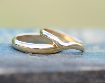 Wedding bands, wedding rings, bridal ring set, his and hers pair, gents mens ring, wishbone ladies ring, womans womens ring, male female