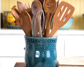 Large Kitchen Utensil Holder   Handmade   16 Color Choices   Blue, Green,  Red