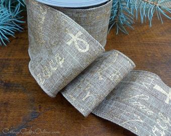 "Christmas Wired Ribbon Burlap Linen Style 2 1/2"" Faith Hope Charity Print - TEN YARD ROLL - d stevens, Gold Glitter Natural Wire Edge Ribbon"