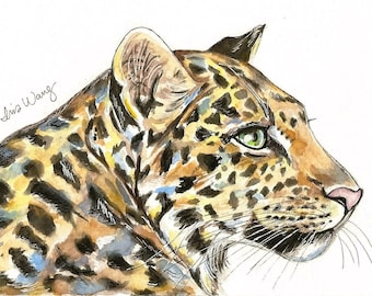 "5""x7"" Glicee Print Colorful Jaguar (watercolor illustration)"