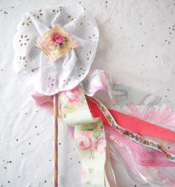 Fabric Flower Wand Flower Girl Bouquet Alternative Princess