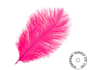 """Ostrich Feathers - Wholesale Wedding Feathers Ostrich Drab Plumes - Hot Pink - 10pcs (14-17"""")"""