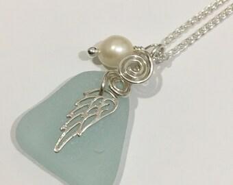 Seaglass Necklace Wing Jewelry Beach Glass Jewelry Handmade, Custom Jewelry