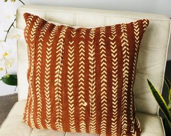 Rust Large Mudcloth pillow