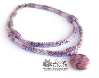 Purple strands and jasper necklace