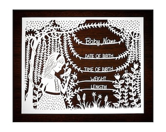 Handcut Custom Papercut - Baby Birth Announcement - Girl in the Willows 8x10