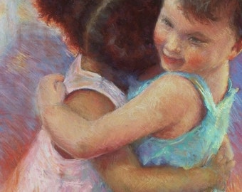 Children Figurative Canvas Giclee Print, Print of Children, Carol Schiff Print, Free Shipping, Choose Your Size, Ready to Hang, No Frame