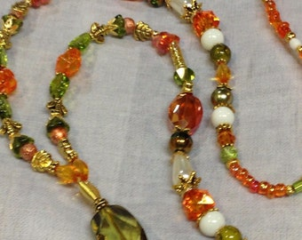 Green Orange Crystal beaded lanyard ID Badge Holder