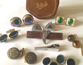Vintage Cufflinks and Leather Studs Box Sterling Glass Antique Western Hickok