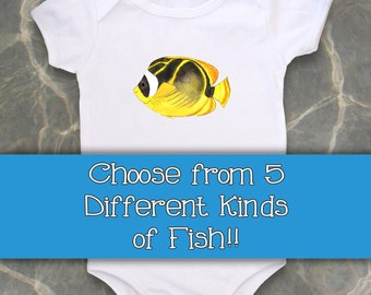 Personalized Baby Clothes, Cute Baby bodysuit, Unique Baby clothes, Fish, Nautical Baby, Kids Clothes, Tropical Fish, Beach Baby, Ocean