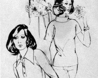 Vintage Misses Stretch & Sew 250 Sewing Pattern, Misses Tab Front, Top with Dolman Sleeves Capped or 3/4 length, Uncut Bust  28 - 44 inches