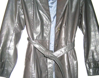 Vintage gray leather coat The Tannery 70s 80s jacket