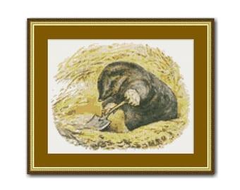 Beatrix Potter's Diggory Delvet Cross Stitch Pattern, Instant Download Cross Stitch Chart (BP008)