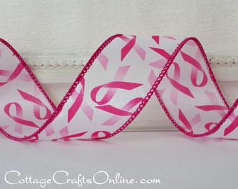 """Wired Ribbon, 1 1/2"""", Pink Ribbon on White - THREE YARDS - Offray, """"Awareness"""" Breast Cancer Awareness Wire Edged Ribbon"""