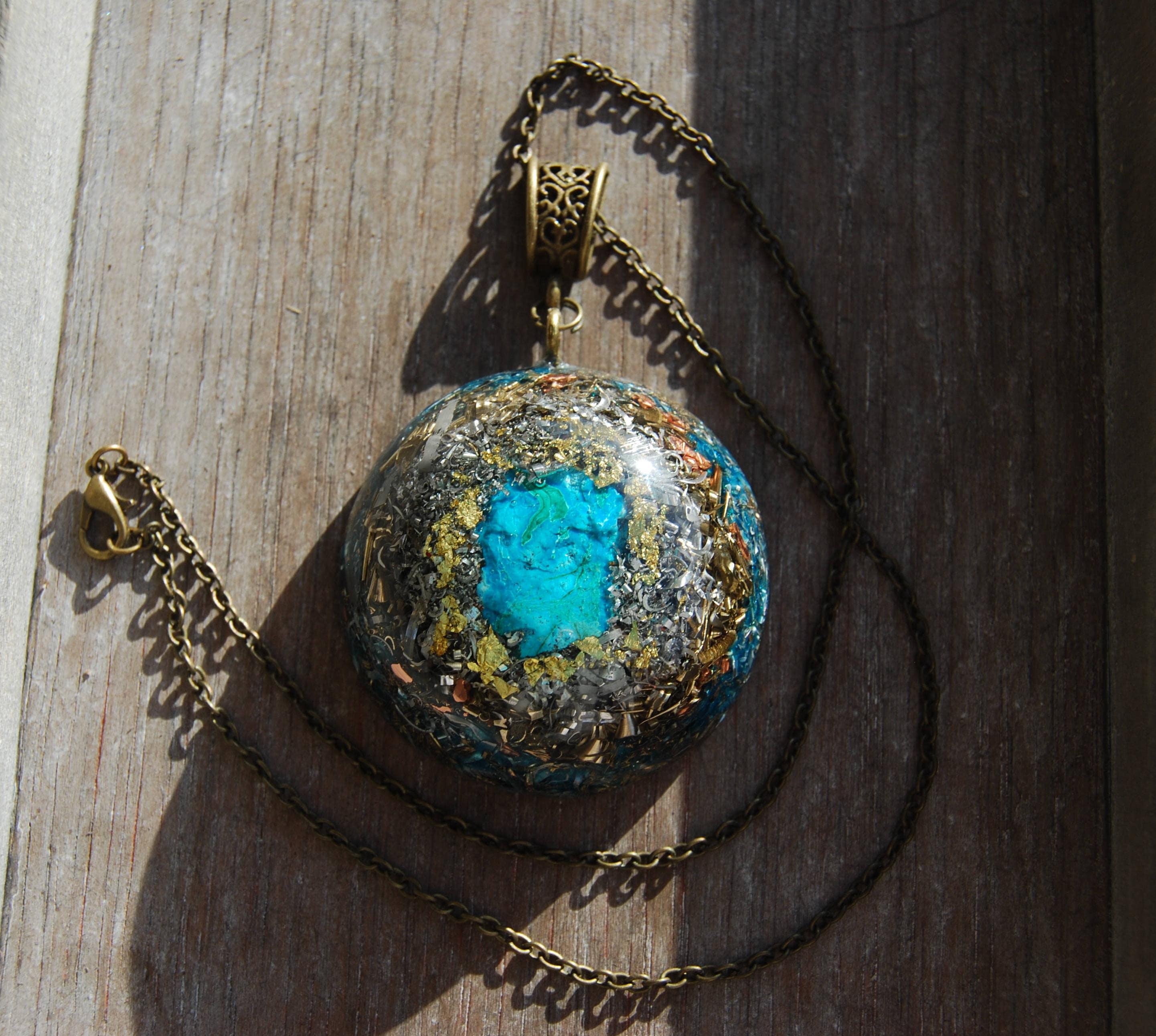 Orgonite orgone pendant necklace with chrysocolla shungiterose orgonite orgone pendant necklace with chrysocolla shungiterose quartz 24k gold emf protection large healing unisex aloadofball Choice Image
