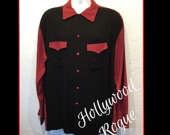 1950s Vintage reproduction Hollywood Rogue gingham two tone shirt. Only one !