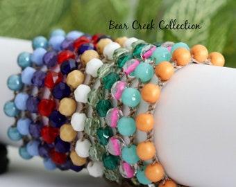 Purple Crochet Bracelet, Stacking Bead Bracelet, Adjustable, Bohemian Style Jewelry, Bohemian, Crochet Jewelry, Bead and Cord Jewelry