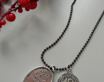 Arcade Fire, Put your Money on Me, necklace, Will Butler, Everything Now, Money charm, handstamped