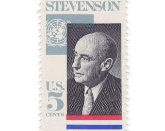 10 Unused Vintage Postage Stamps - 1965 5c Adlai Stevenson - Item No. 1275