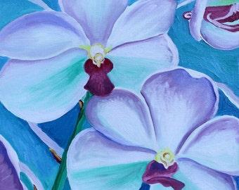 Blue Orchid, GREETING CARD - blue flower, orchid art, flower art print, flower paintings