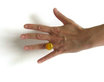 Ring with Yellow Glass Gem