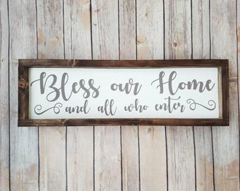 Blessed Sign, Bless our Home Sign, Entryway Decor, Entryway Sign, Wooden Blessed Sign, Bless This Home, Famiy Sign, Sign for Family