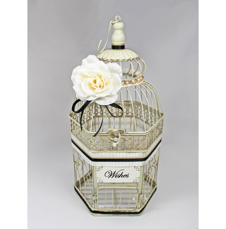 Ivory Black & Gold Wedding Birdcage Card Holder Vintage