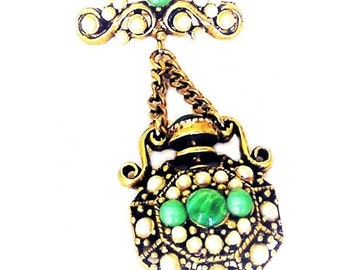 Hollycraft 1951 Pearls and Green Cabochons Brooch