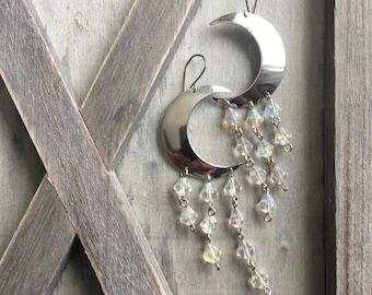 Moon Earrings Silver Earrings Crystal Earrings Moon Dangle Earrings Silvwe Moon Earrings Daniellerosebean Drop Earrings Chandelier Crystals