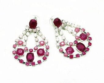Large Pink Ombre Hand Painted Rhinestone Earrings
