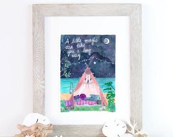 Boho moon magic camping print - A4 - watercolour, Roald Dahl Quote.