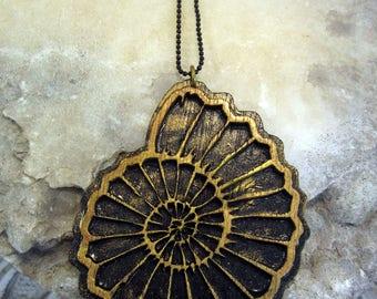 nautilus shell, golden spiral, golden ratio, lasercut jewelery, geometry necklace, sacred geometry, wood necklace, wood jewelry, phresha