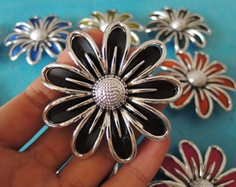 2 pcs 60mm Large  Rubberized Acrylic flower  -black  and sliver (S051)