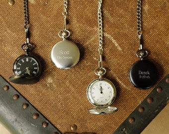 Engraved Pocket Watch for Groomsmen - Personalized Pocket Watch - Monogrammed Pocket Watch - Groomsmen Gift - Gifts for Him - Husband Gifts