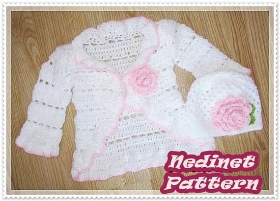 Crochet baby cardigan pattern, crochet beanie pattern, ruffled ...