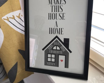 "Personalised ""House a Home"" Frame"