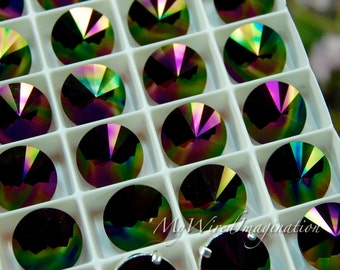 Swarovski Rainbow Dark, 12mm Rivoli 1122, Genuine Swarovski in Setting, Crystal in Settings, Sew On Rivoli, Rainbow Dark 1122 Rivoli
