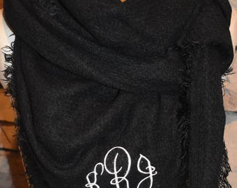 Solid Black Tartan Blanket Scarf Monogrammed Scarf Scarves Zara Style Plaid Bloggers Favorite-New Color-Monogramming Avail