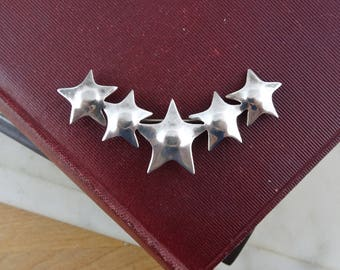 Vintage Sterling Silver Star Brooch, Signed 925 Mexican Silver,  Row of Stars, Shooting Star Brooch