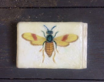 Encaustic Painting - Insect Art - Moth Art - Original Art - Photo Image Transfer -  Wood Panel -  Beeswax - Small Painting - Butterfly