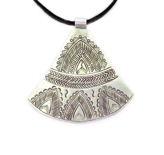 Large sterling silver ethnic tribal pendant necklace handmade aloadofball Choice Image