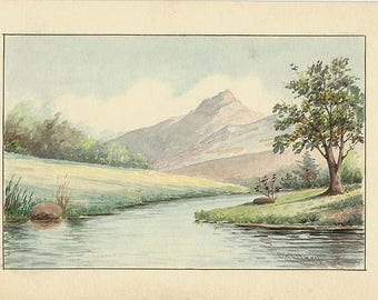Vintage ORIGINAL Watercolor Painting by Charles Frederick Whitney 1858-1949 - Not a Print or Copy