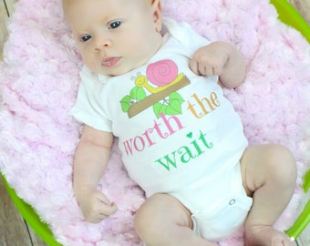 Newborn Girl Take Home Outfit Worth The Wait Outfit Newborn Outfit Baby Girl OnePiece Outfit Bodysuit Coming Home Outfit