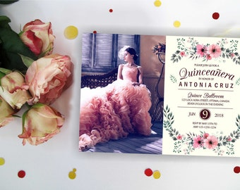Ivory Floral Quinceanera invitation with/ out photo. Quinceanera Birthday Invitation, Quinceanera Invites,  Quinceanera party, Digital