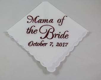 Mama of the Bride - Embroidered Handkerchief - Wedding Gift - Simply Sweet Hankies