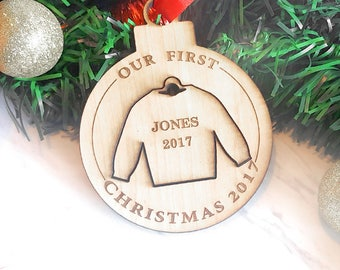 Double Personalized Birch Wood Ugly Sweater Christmas Ornament Custom Engraved laser etched Bauble Laser Cut Two-in-One