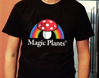 "Nature's Gnosis Black High Quality Screen Printed Tee ""Magic Plants"" Design"