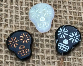 1 | Sugar Skull Glass Bead | Day of the Dead Jewelry | 16x19mm