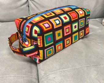 Double Zip Pouch | Geometric Colorful Squares Print