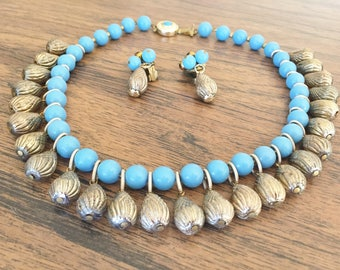Turqoise Blue Acorn Necklace and Earrings Vintage Germany
